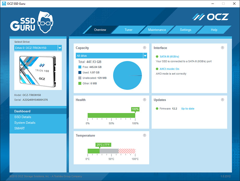 The OCZ SSD Guru utility is a nifty tool that lets users easily manage and monitor their OCZ SSDs.