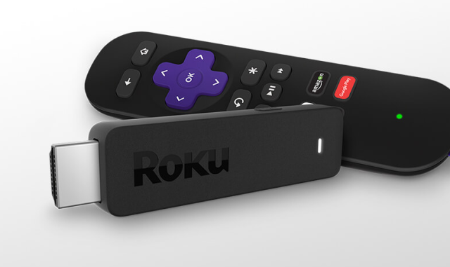 The all-new Roku Streaming Stick with its remote controller.
