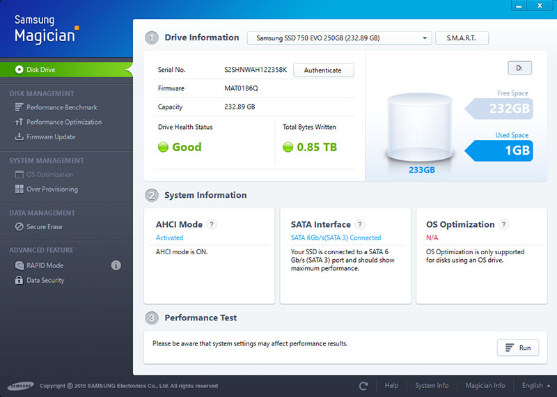 Samsung's excellent Magician utility lets users quickly monitor, optimize and manage their Samsung SSDs.