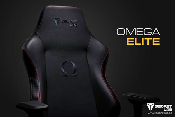 The Omega Elite features a new stealth blue logo stitching. (Image Source: Secretlab)