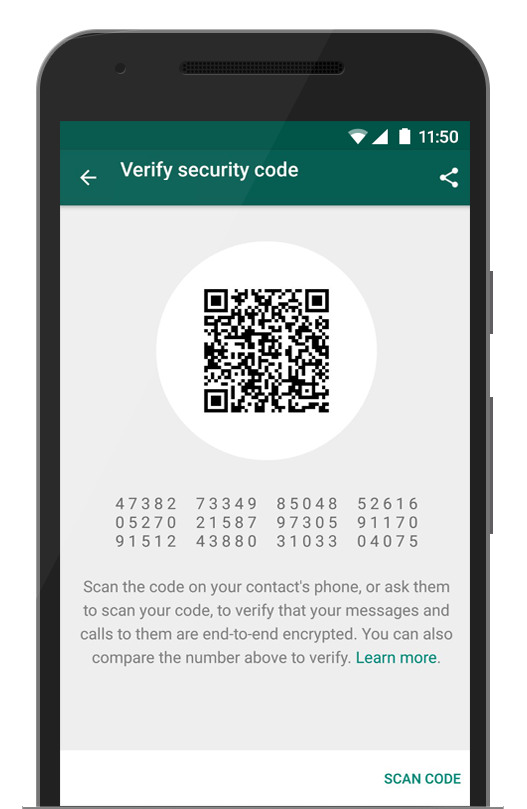 An example of the end-to-end encryption: both sides of the chat will be able to see a matching QR code or 60-digit number.