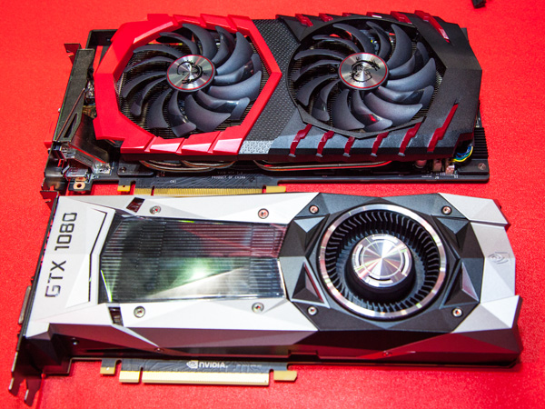 The new MSI GeForce GTX 1080 Gaming Z (top) compared with the reference design GeForce GTX 1080 Founder's Edition.