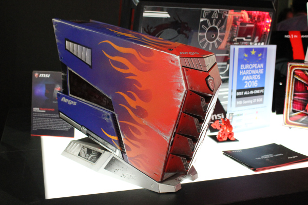 The Aegis is the second compact PC ever to be made by MSI, after the Vortex. Seen here is a variation of the Aegis.
