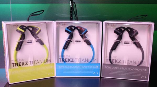 The AfterShokz Trekz Titanium in its three available colors: Ivy, Ocean and Slate (green, blue and gray).