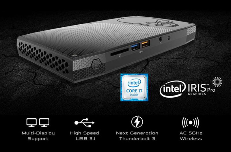 Based on the Intel Skull Canyon reference design the Aftershock Nano-S mini PC is powered by a 6th-gen Intel Core i7-6770HQ processor and Intel Iris Pro Graphics 580. It has 8GB RAM, a 250GB SSD, and supports Thunderbolt 3. Going for $1,412.