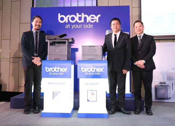 From L to R: Alan Tham, Senior Manager, Marketing, Brother International Malaysia Sdn Bhd; Itsuo Segawa, Country Head, Brother International Malaysia Sdn Bhd; and Brian Low, Country Sales Head, Brother International Malaysia Sdn Bhd  at the launching of the new Brother monochrome printer series.
