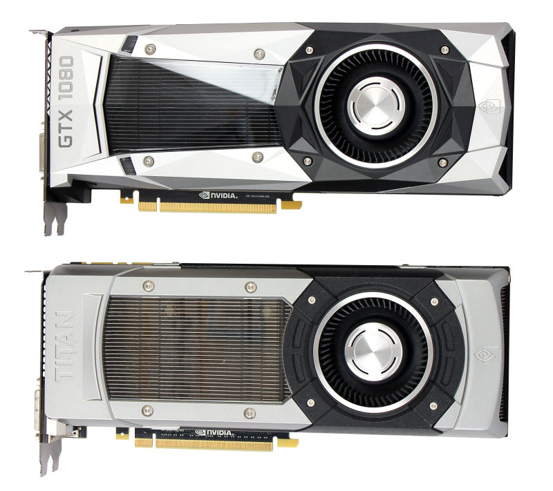 Side by side: The GeForce GTX 1080 Founders Edition above, and the original GeForce GTX TITAN below. Notice the difference in their shroud design.