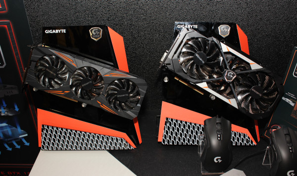 Gigabyte's G1 Gaming GTX 1080 on the left, and the Xtreme Gaming GTX 1080 on the right.