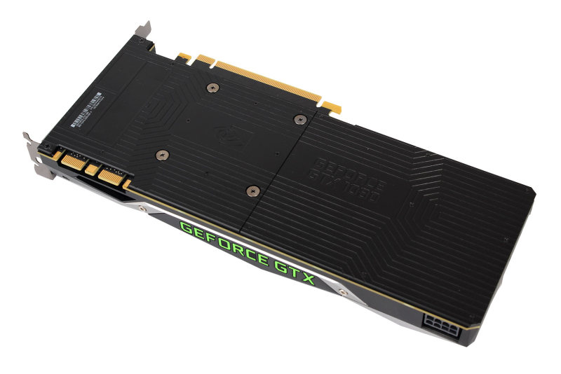 The GTX 1080 has a simple yet stylish backplate emblazoned with its name on it.