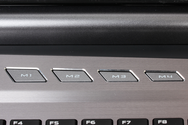 Located above the ILLEGEAR Z7's keyboard are four macro keys...