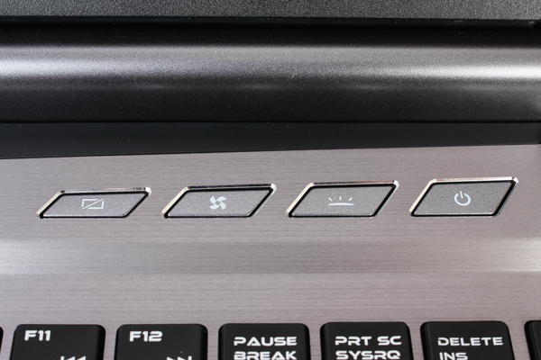 ... and four quick access keys. Pressing the one on the furthest left will turn off its display, while the one next to it will prompt its rear exhaust fans to spin at full speed. You should know what the remaining two buttons do.
