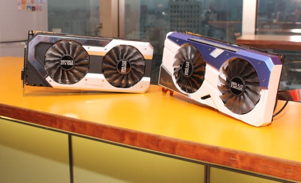 Palit has not one, but two variations of NVIDIA's new GeForce GTX 1080: GameRock (right) and JetStream (left).