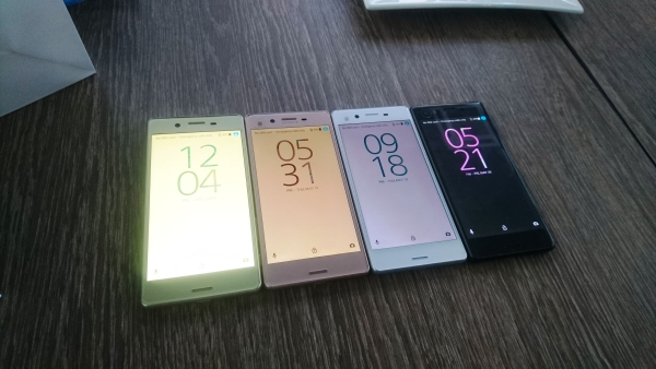 The Sony Xperia X in (from L-R) Lime Gold, Rose Gold, White and Graphite Black.