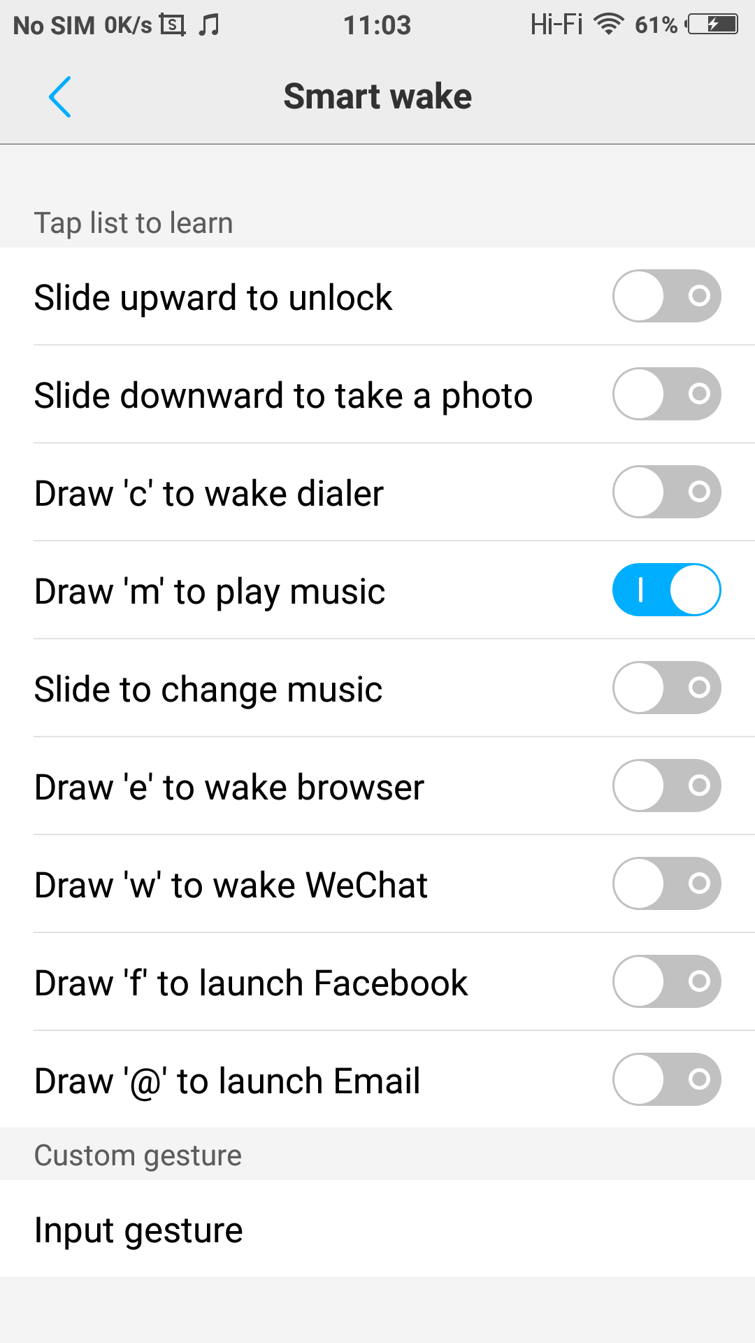 Smart Wake allows you to start apps using gestures, even if the phone is locked.