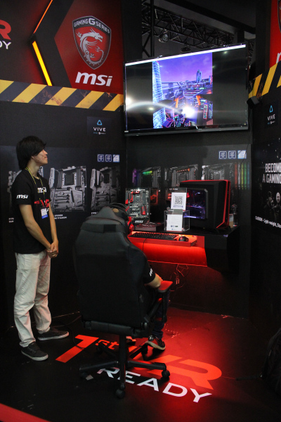 MSI has several VR demos set up at their booth, so if you're here at COMPUTEX 2016, head down and give them a try.