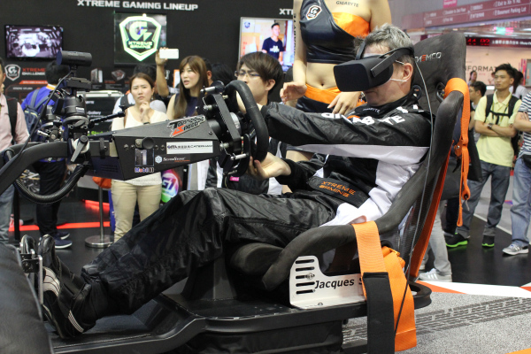 Gigabyte's VR demo was essentially just a VR racing simulator.