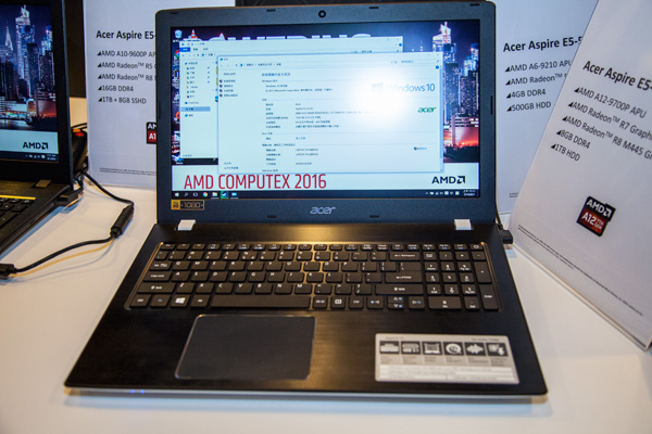 The Acer Aspire E5-553G will come with an AMD A10-9600P APU, AMD Radeon R5 graphics, AMD Radeon R8 M445 graphics, 16GB DDR4 memory and a 1TB+8GB SSHD.