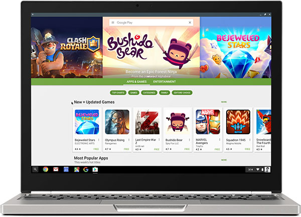 The Google Play Store will soon be available on Chrome OS. (Image Source: Chrome Blog)