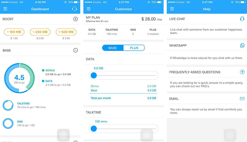 Everything, from adding more data to contacting customer support, can be done in the CirclesCare app.