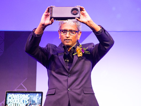 Raja Koduri, senior vice president and chief architect, Radeon Technologies Group, AMD, showing off the new Radeon RX 480 graphics card.