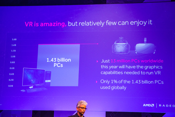 """VR is the most eagerly anticipated development in immersive computing ever, and is the realization of AMD's Cinema 2.0 vision that predicted the convergence of cinematic visuals and interactivity back in 2008,"" said Raja Koduri, senior vice president and chief architect, Radeon Technologies Group, AMD. ""As we look to fully connect and immerse humanity through VR, cost remains the daylight between VR being the purview of the wealthy, and universal access for everyone. The Radeon™ RX Series is the disruptive technology that adds rocket fuel to the VR inflection point, turning it into a technology with transformational relevance to consumers."""