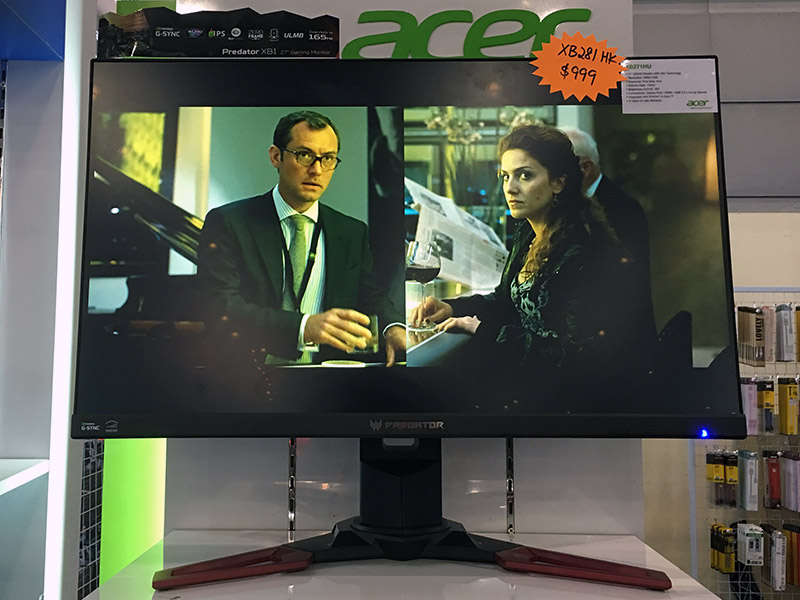 The Acer Predator XB281HK is a 28-inch 4K gaming monitor with NVIDIA G-Sync support for smooth gaming. Supports HDMI and DisplayPort connectivity, and has a built-in USB 3.0 hub with 4 downlink ports. Going for $999, down from $1,199 at this PC Show.