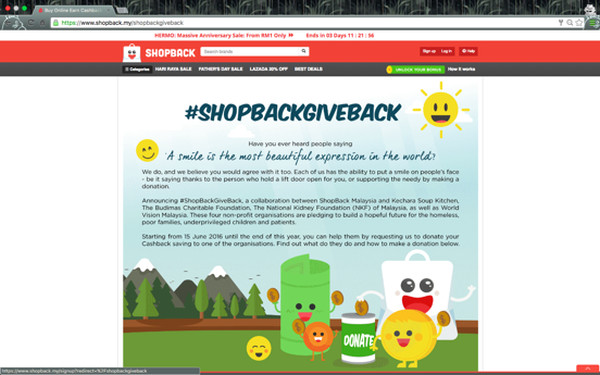 Online cashback site ShopBack Malaysia recently launched a new charity initiative, roping in four different non-government organizations.