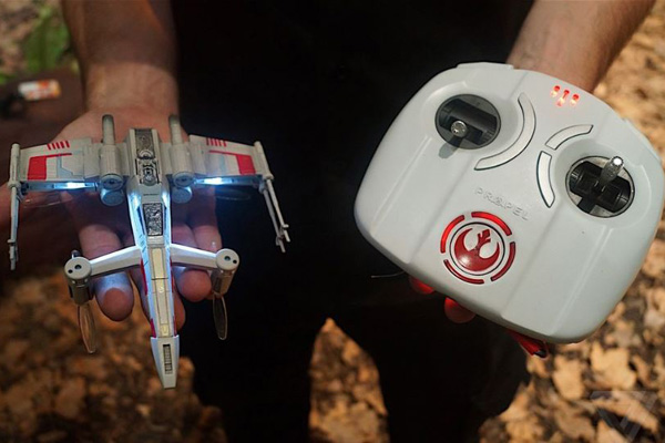 The drones are quite small and fit easily into the palm of your hand.