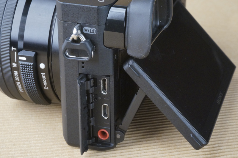 The A6300 has HDMI out and a microphone port for audio monitoring.