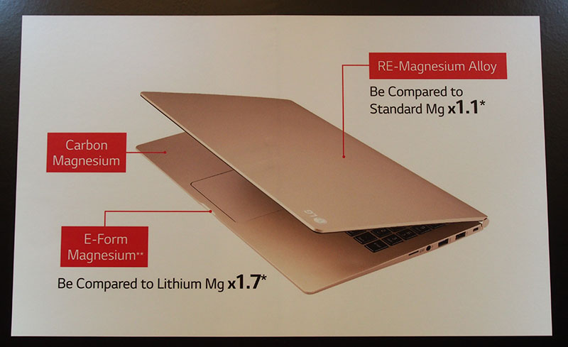 The LG Gram achieves its incredible weight thanks to the extensive use of exotic magnesium alloys.