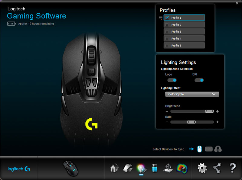 You can choose from a range of colors and lighting effects for both the scroll wheel and Logitech logo.
