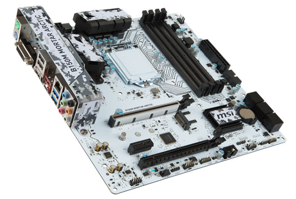 The B150M Mortar Arctic now sports an all-white PCB with a digital camouflage pattern. (Image Source: MSI)