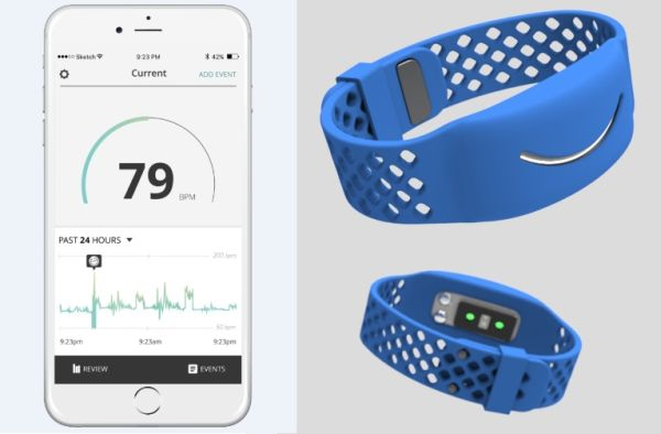Reveal is a wearable mood monitor that tracks the stress and anxiety level of a child with ASDs. The companion app helps caretakers monitor the child's heartbeat, body temperature and sweat levels. <br> Image source: Awake Labs