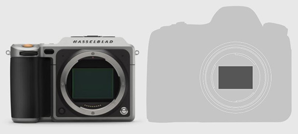 A rough comparison of the size difference between the X1D's sensor and a typical 35mm full-frame camera's sensor.