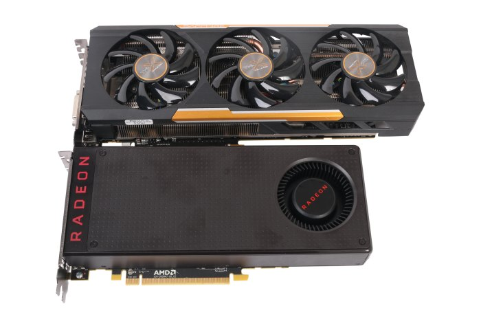 The new Radeon RX 480 is small, as you can see here. Above is the Sapphire TRI-X R9 390X.