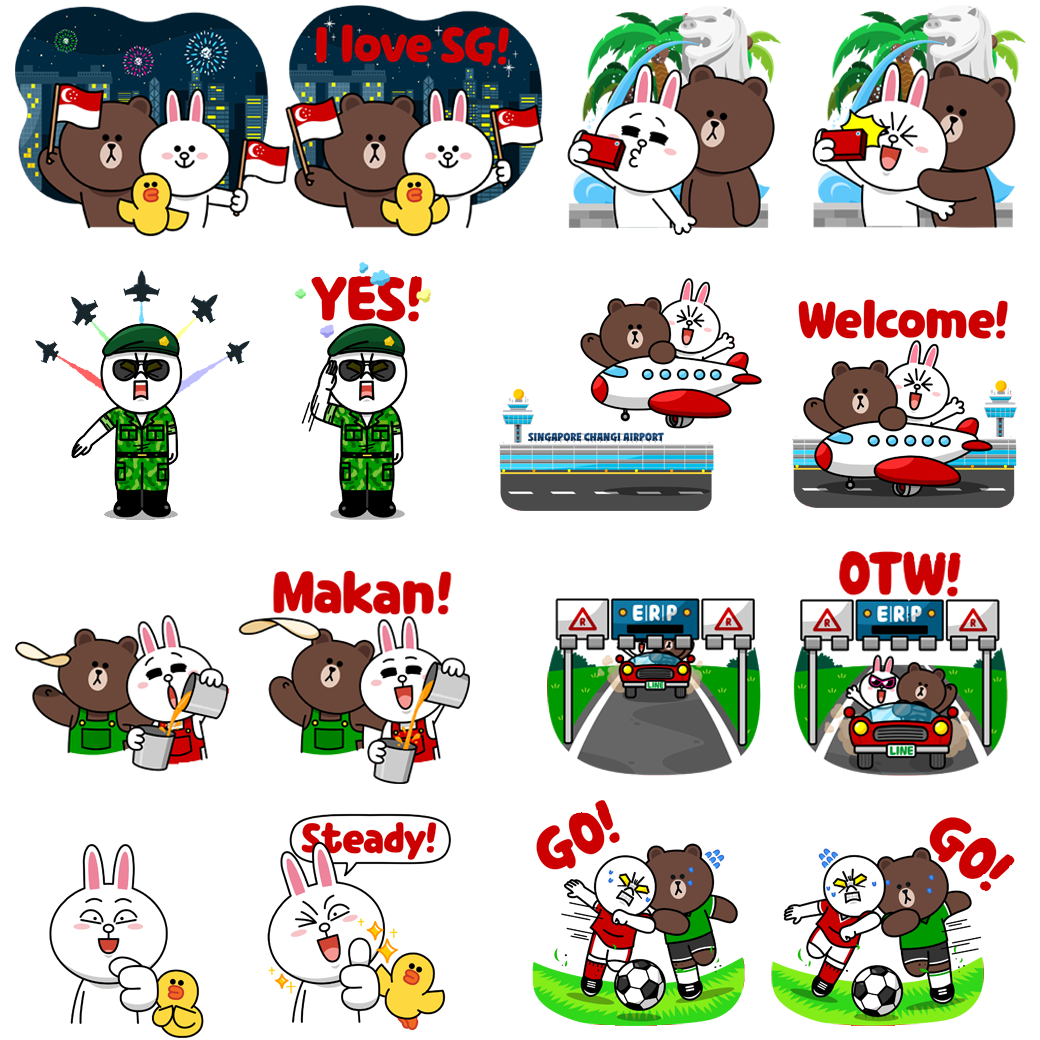 Celebrate national day with this free animated line sticker set