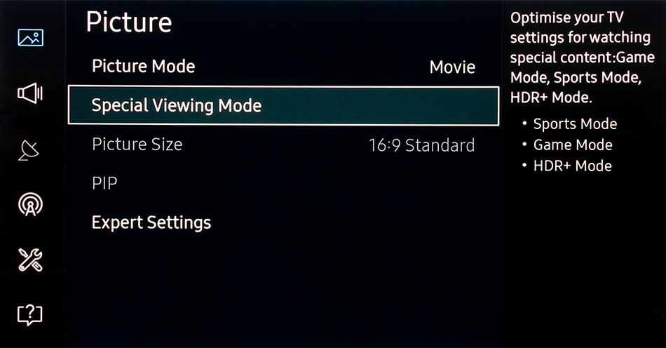 The Sports and Game modes are now under the Special Viewing mode in the Picture menu. A recent firmware update (1110) also introduces a HDR+ mode that tries to bring the HDR effect to non-HDR videos.