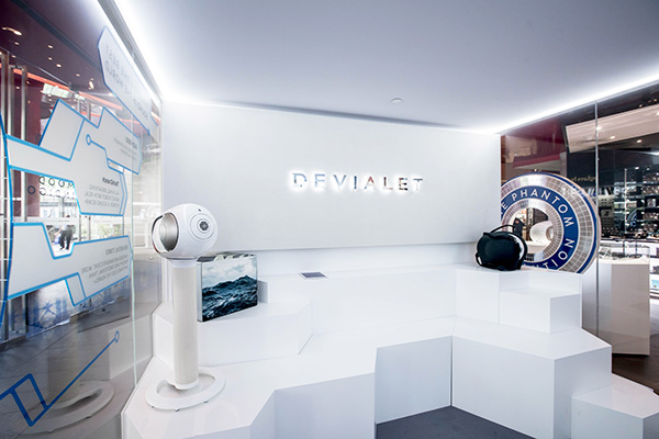 The back of the room is a seating area where you can rest while you try out Devialet's newest products.