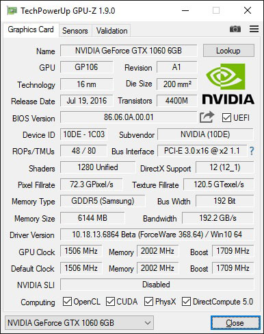 A quick snapshot of the card's specifications.