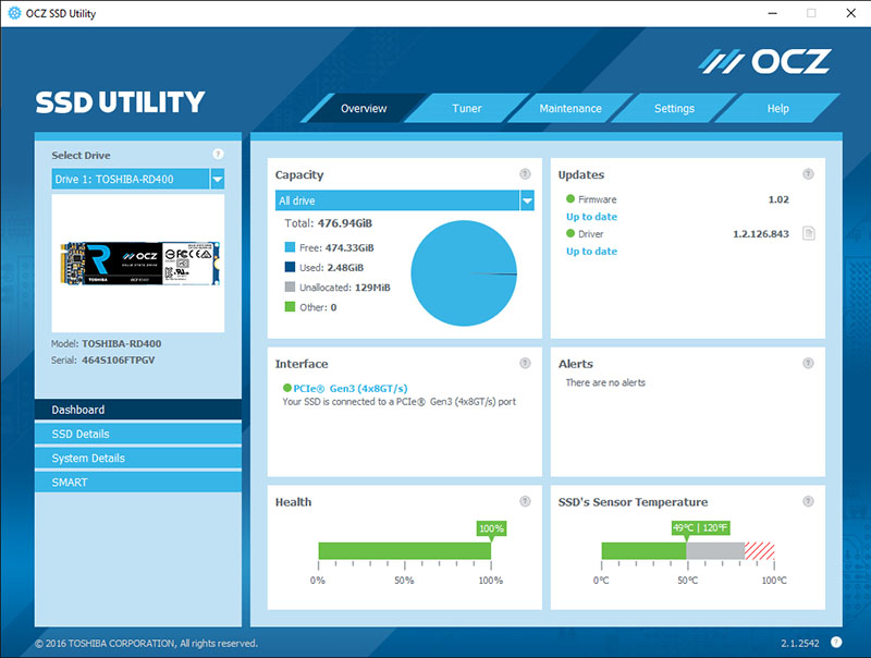 The OCZ SSD Utility lets users quick manage and monitor their OCZ SSDs.