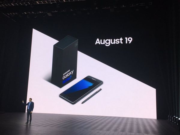 The Galaxy Note7 is set to launch on August 19, 2016.