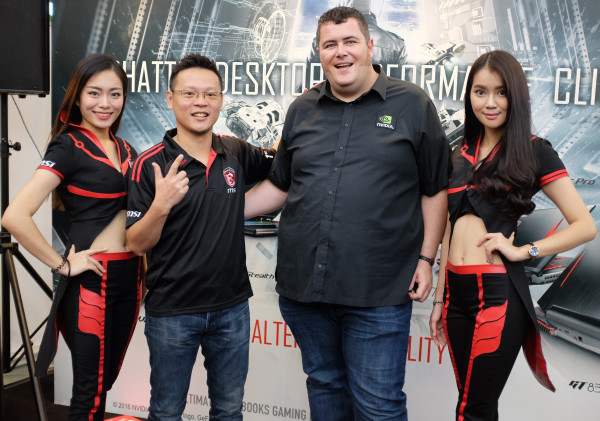 From L-R: Henry Chung, NB Sale and Marketing Director, Notebook Department, MSI Pacific Int'l Holding Co Ltd (second from left), and John Gilooly, Technical Marketing Manager, NVIDIA second from right).