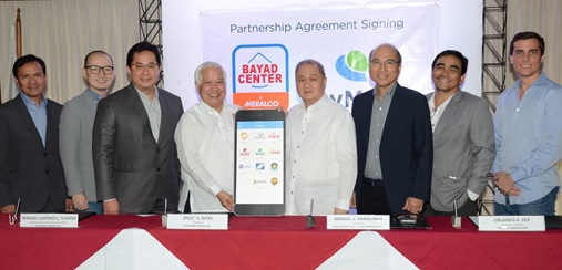 L-R: Pit Quevedo, Senior Vice President & COO, Bayad Center; Lawrence Ferrer, Vice President, PayMaya Philippines; Manny Tuason, President and CEO, Bayad Center; Oscar Reyes, Chairman of Bayad Center; Manny Pangilinan, Chairman of Voyager Innovations; Orlando Vea, President and CEO, Voyager Innovations; Benjie Fernandez, co-COO of PayMaya Philippines and COO, Voyager Innovations; and Paolo Azzola, co-COO and Managing Director, PayMaya Philippines.