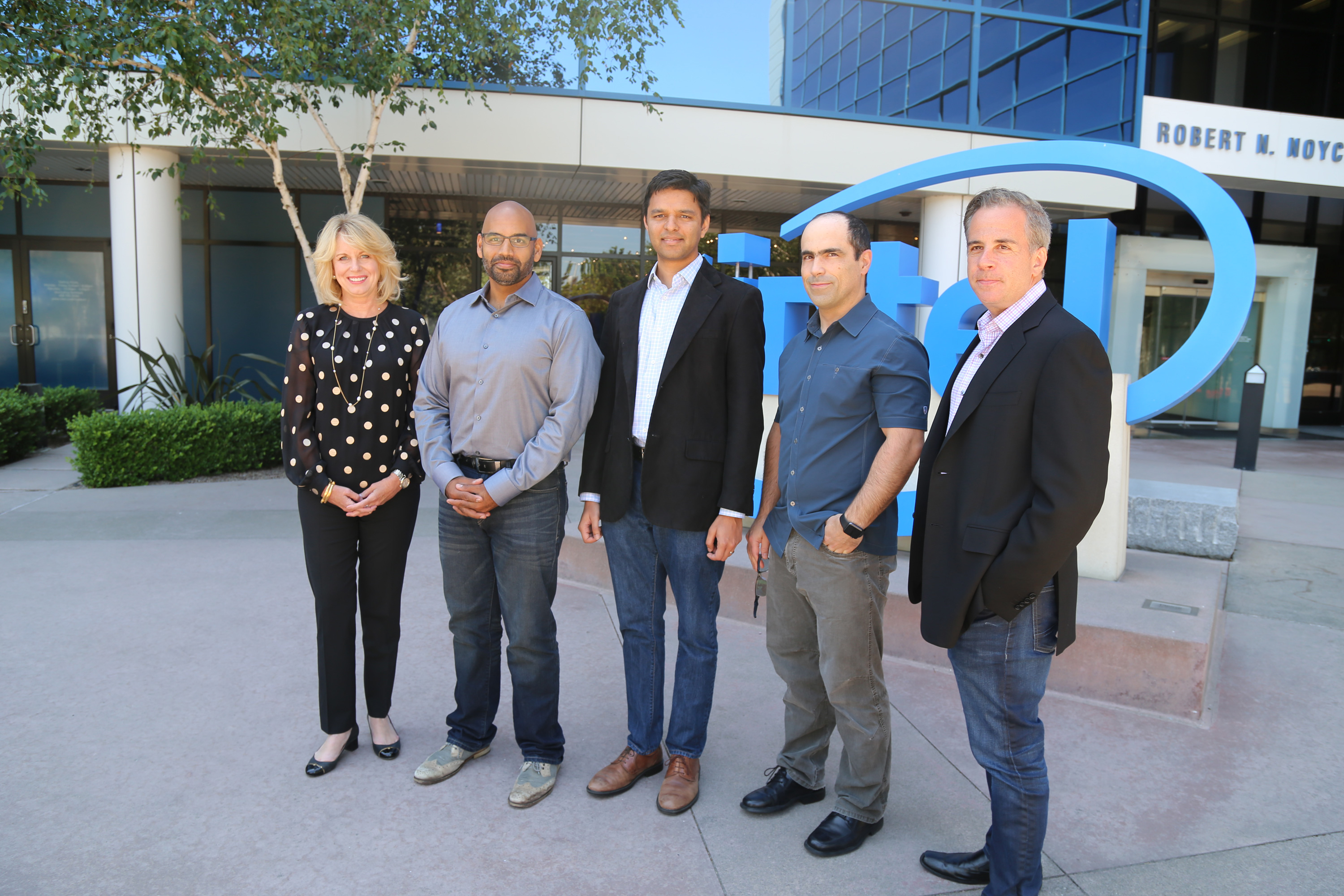 Intel's Diane Bryant with Nervana's co-founders Naveen Rao, Arjun Bansal, Amir Khosrowshaki and Intel vice president Jason Waxman (Source: Intel)