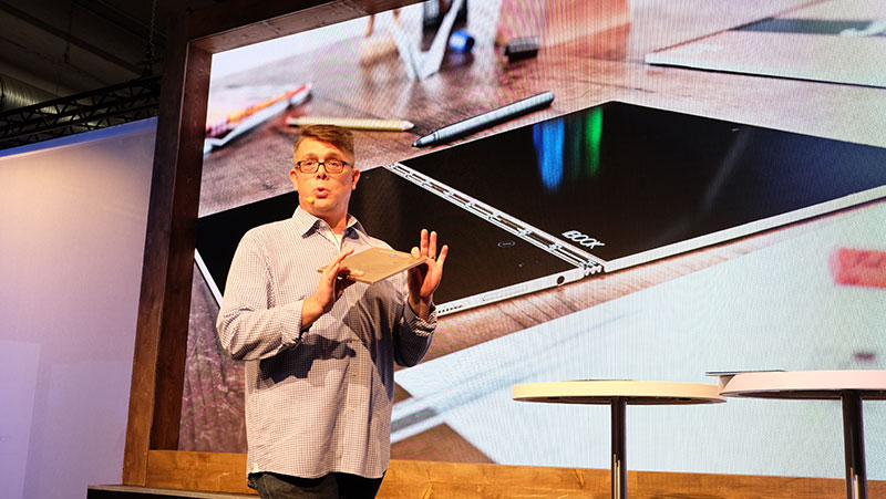 Jeff Meredith, General Manager and Vice-President, Android and Chrome Business Group, talks about the Yoga Book on stage.