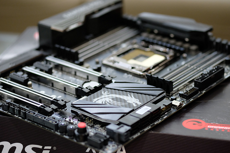 The board is tricked out with carbon fiber finish on the VRM and PCH heatsinks.