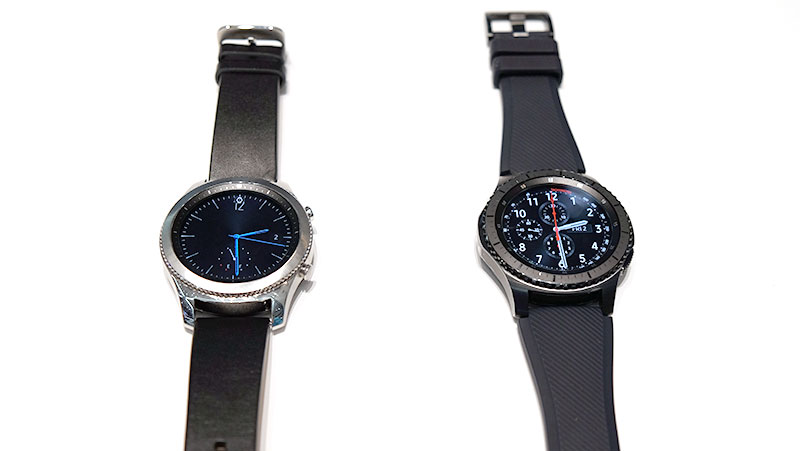 Gear S3 Classic on the left, Gear S3 Frontier on the right.
