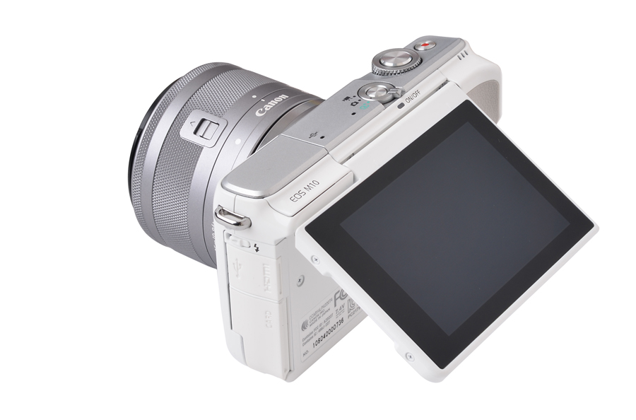 The 3-inch LCD touchscreen can be flipped 180 degrees upwards for selfies.