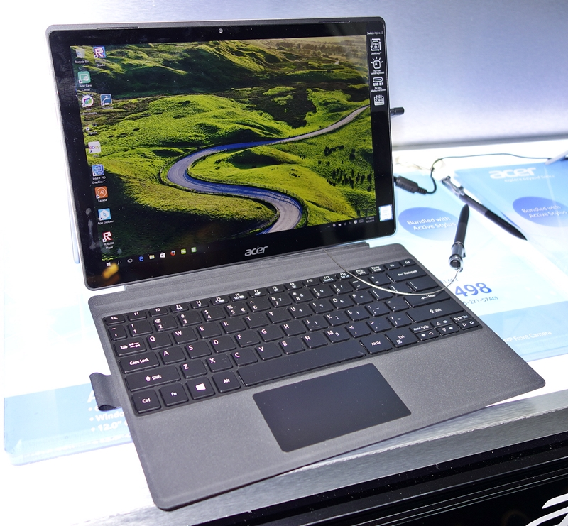 """The Acer Switch Alpha 2-in-1 convertible notebook features a 12-inch, 10-point touchscreen display, with a resolution of 2,160 x 1,440 pixels. Its marquee feature is the Acer LiquidLoop cooling technology sans active cooling fans. The device is powered by either an Intel """"Skylake"""" Core i7-6500U mobile CPU or an Intel Core i5-6200U chip, coupled with 8GB of LPDDR3 RAM. The storage options include either a 256- or a 512GB SSD. There's a single USB 3.1 Gen 1, Type-C reversible port that will allow connectivity of up to 5Gbps for supported devices. The Acer Switch Alpha weighs about 1.2kg (with keyboard), and boasts of a battery life of up to 8 hours! It is priced from $1,498 (from U.P. $1,698)."""
