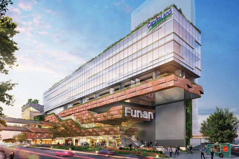 The new Funan will feature multiple access points and gentle slopes, making it easy for cyclists and pedestrians to enter the building. PHOTO: CAPITALAND